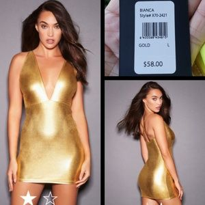 $58 New FREDERICKS OF HOLLYWOOD gold dress LARGE